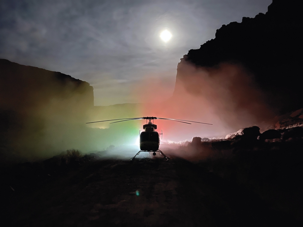 A Classic Air helicopter makes a nightime rescue in the canyon country.  A climber fell in the Deadmans Buttress climbing area in Grand County on February 27.