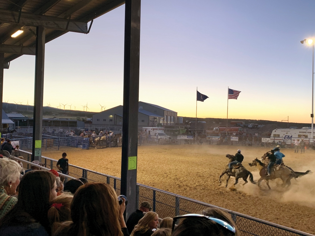 Spectators enjoy the raucous horse games during the local rodeo at the San Juan County Fair. Jeremy Lyman photo